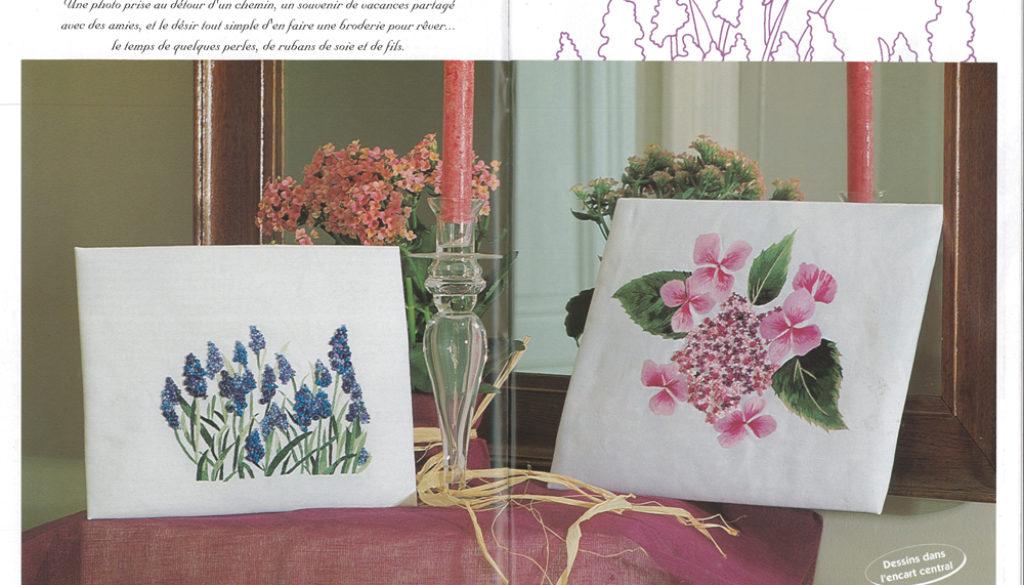 2-rédaction-accroche-création-ruban-et-peinture-à-l'aiguille.-Hortensia-et-mimosa-pour-Ouvrages-Transferts.